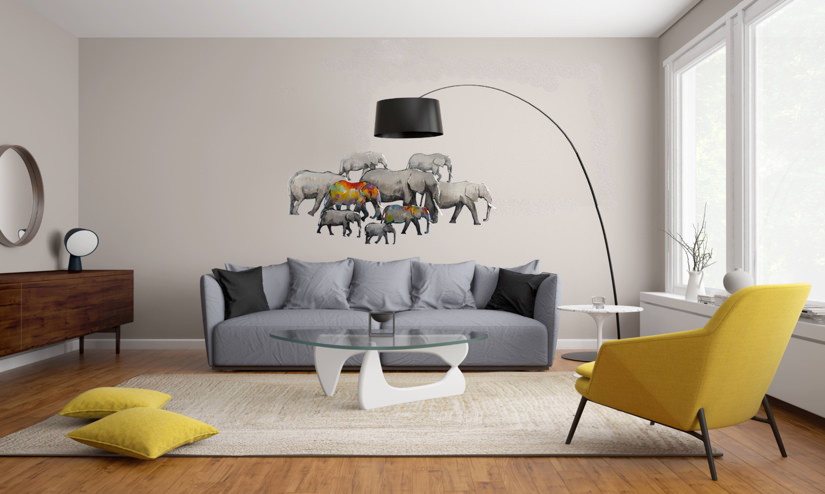 3D Metal Wall Art. Elephants Heading for Water 174cm x 81cm