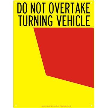 Rear Do Not Overtake Sign 300 x 400 Alloy Plate LH