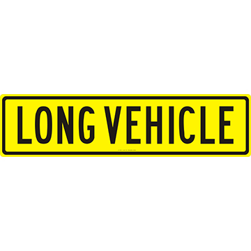 Long Vehicle Sign 1200 x 300 Alloy Plate