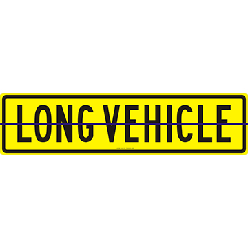 Long Vehicle Sign 1200 x 300 Alloy Plate Hinged
