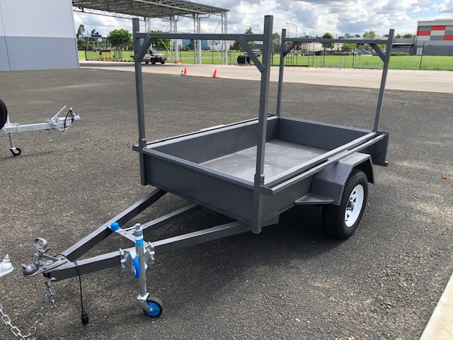 Near New 2019 7x4 Box Trailer with Ladder Racks